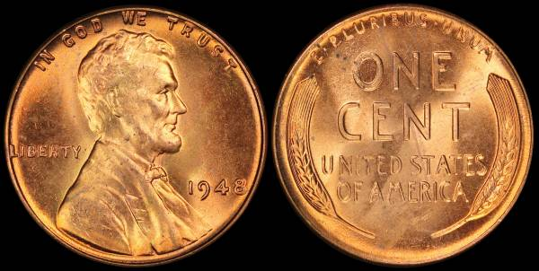 1948 P Lincoln Wheat Cent Uncirculated Coin 1 RED