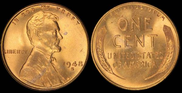 1948 S Lincoln Wheat Cent Uncirculated Coin 1 RED