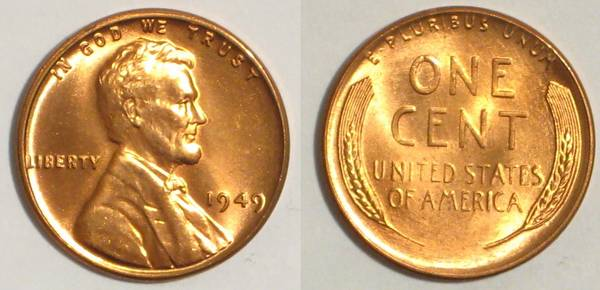 1949 P Lincoln Cent PCGS RED MS65