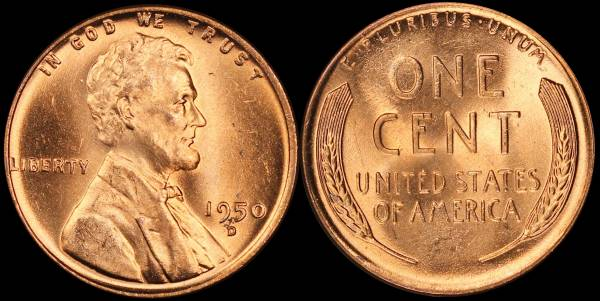 1950 D Lincoln Cent BU RED Uncirculated
