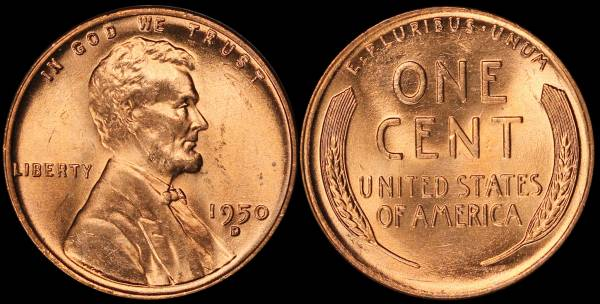 1950 D Lincoln Cent BU RED Uncirculated 4