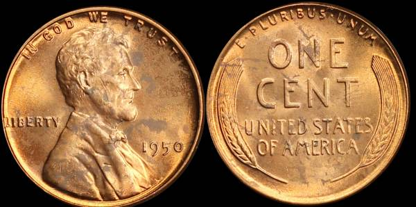 1950 P Lincoln Cent Uncirculated RED Coin 3