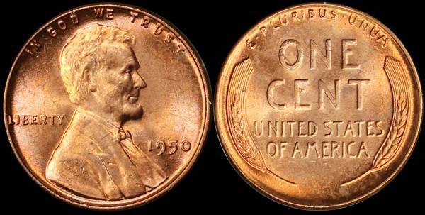 1950 P Lincoln Cent Uncirculated RED Coin