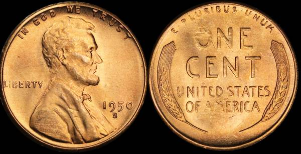 1950 S Lincoln Cent BU Uncirculated 1