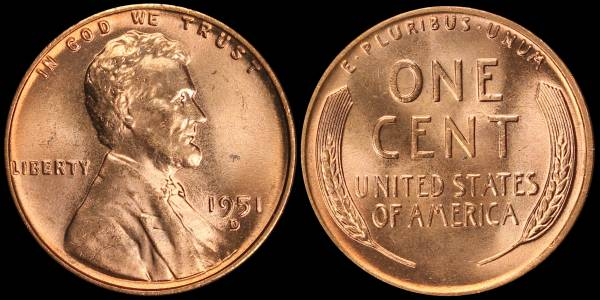 1951 D Lincoln Cent RED BU Uncirculated Coin 2