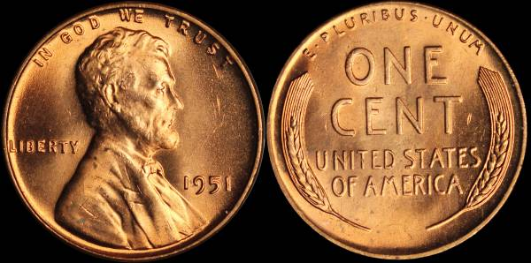 1951 P LIncoln Cent RED BU Uncirculated Coin 4