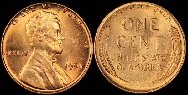 1951 P Lincoln Cent BU RED Uncirculated 1