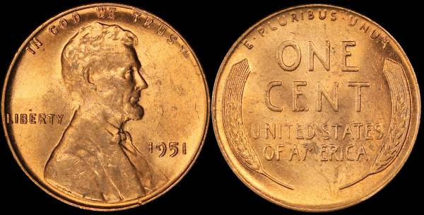 1951 P Lincoln Cent BU RED Uncirculated 6