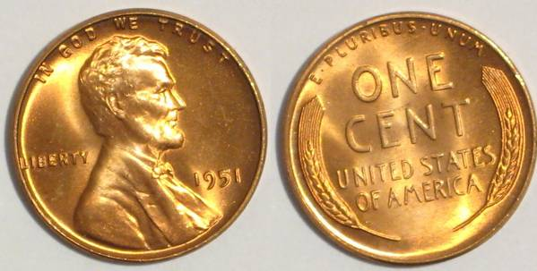 1951 P Lincoln Cent PCGS RED MS66.