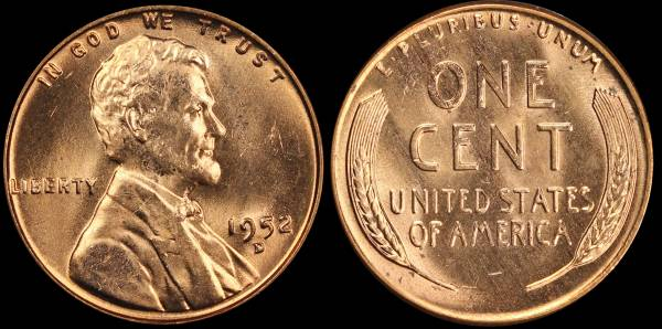 1952 D Lincoln Cent RED BU Uncirculated Coin 3