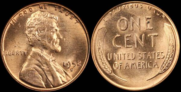 1952 D Lincoln Cent RED BU Uncirculated Coin 6