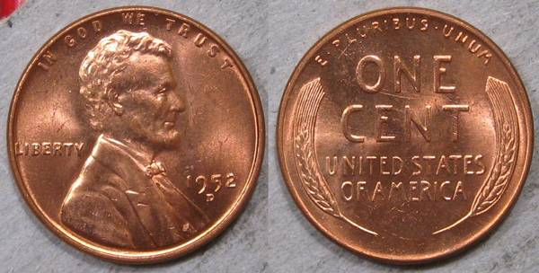 1952 D Lincoln Cent Select BU RED