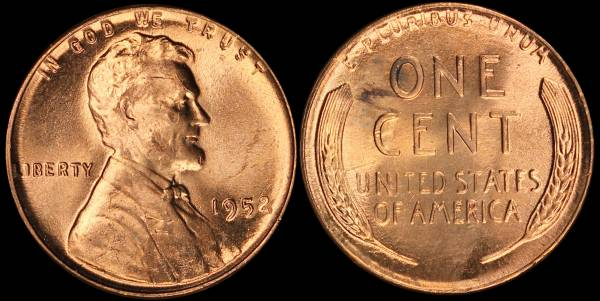 1952 P Lincoln Cent BU RED Uncirculated