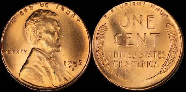 1952 S Lincoln Cent BU RED Uncirculated