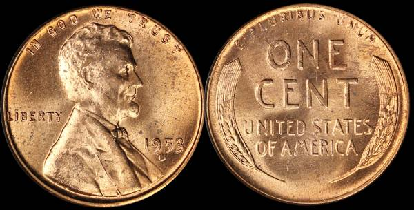 1953 D Lincoln Cent RED BU Uncirculated Coin 5
