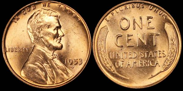 1953 D Lincoln Cent BU RED Uncirculated 1