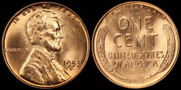 1953 D Lincoln Cent BU RED Uncirculated 3