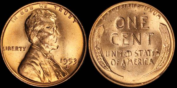 1953 D Lincoln Cent BU RED Uncirculated 4