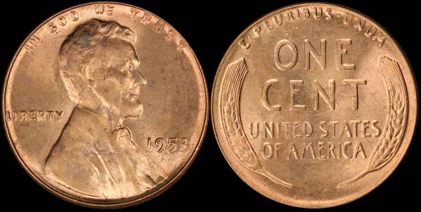 1953 P LIncoln Cent RED BU Uncirculated Coin 1