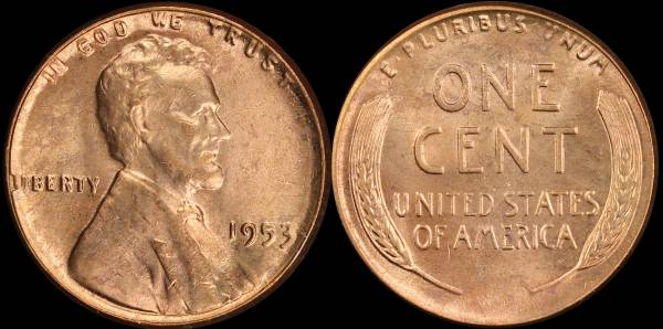 1953 P Lincoln Cent RED BU Uncirculated Coin 4