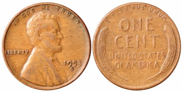 1953 S Lincoln Cent F12