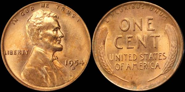 1954 D Lincoln Cent BU Uncirculated 6