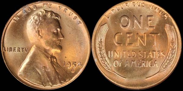 1954 S LIncoln Cent RED BU Uncirculated Coin 1