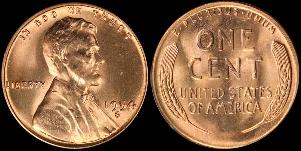 1954 S Lincoln Cent RED BU Uncirculated Coin 3