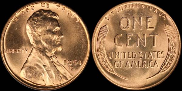 1954 S Lincoln Cent RED BU Uncirculated Coin 5