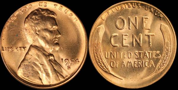 1954 S Lincoln Cent BU Uncirculated 4