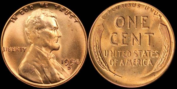 1954 S Lincoln Cent BU Uncirculated 6