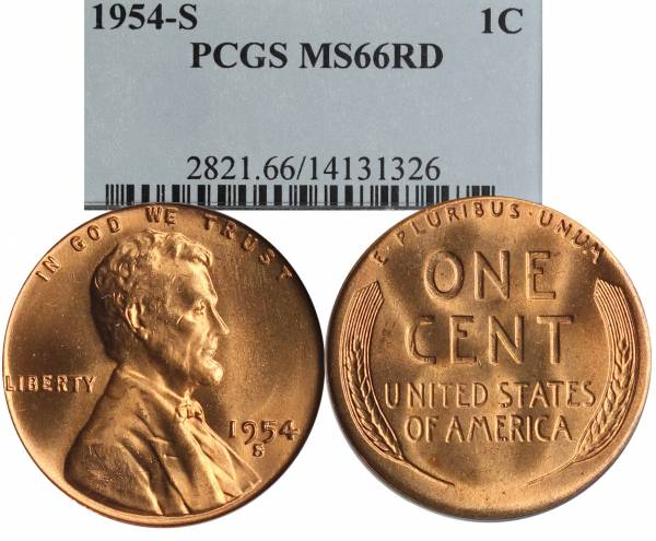 1954 S Lincoln Wheat Cent PCGS MS64 RED slab 14131326