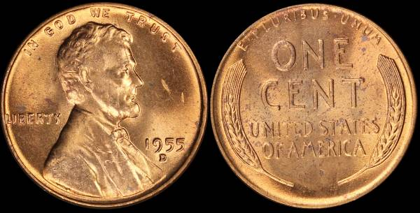 1955 D Lincoln Cent RED BU Uncirculated Coin 2