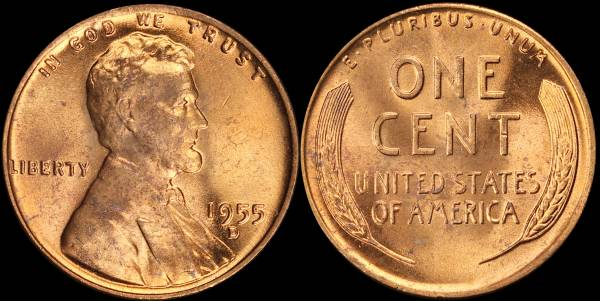 1955 D Lincoln Cent RED BU Uncirculated Coin 4