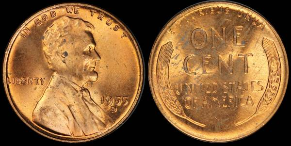 1955 D Lincoln Wheat Cent Coin 1 RED Uncirculated