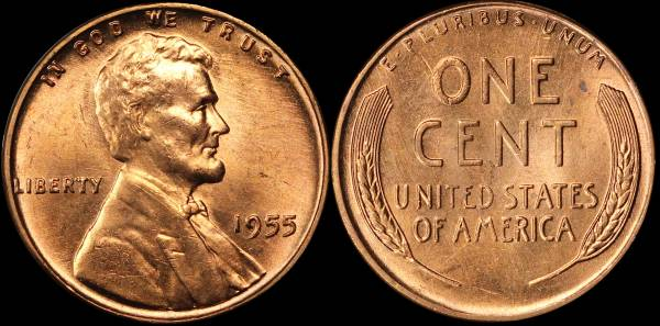 1955 P Lincoln Cent BU Uncirculated 1 cleaned