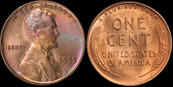 1955 P Lincoln Cent BU Uncirculated 2 cleaned dark