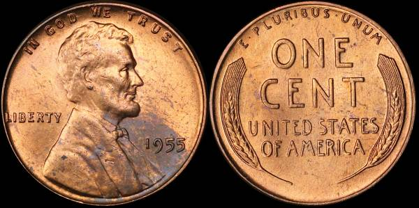 1955 P Lincoln Cent BU Uncirculated 4 UGLY