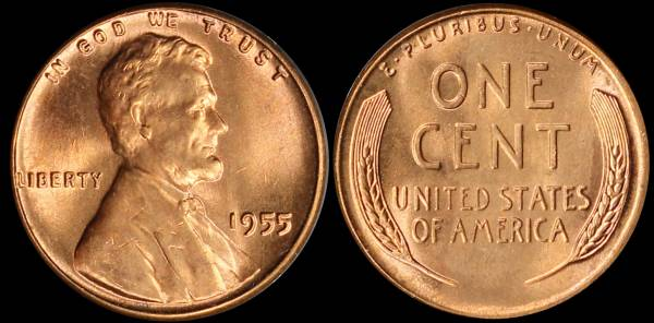1955 P Lincoln Cent Uncirculated RED Coin 2