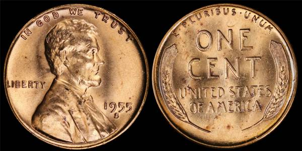 1955 S Lincoln Cent BU RED Uncirculated 6