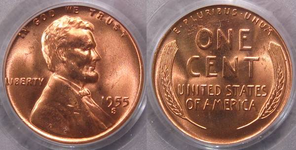 1955 S Lincoln Cent MS66 RED PCGS