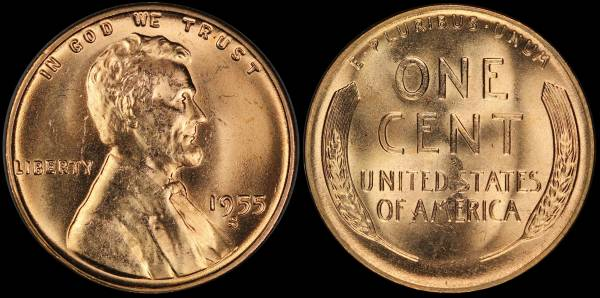 1955 S Lincoln Wheat Cent Coin 1 RED Uncirculated