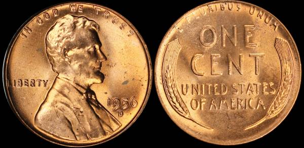 1956 D Lincoln Cent BU RED Uncirculated 3