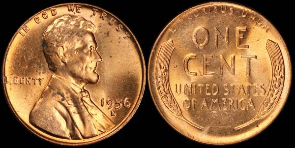 1956 D Lincoln Cent BU RED Uncirculated 4