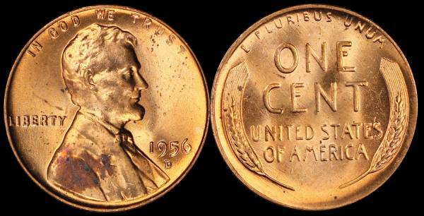1956 D Lincoln Cent BU RED Uncirculated 6