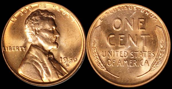 1956 D Lincoln Cent Uncirculated RED Coin 3