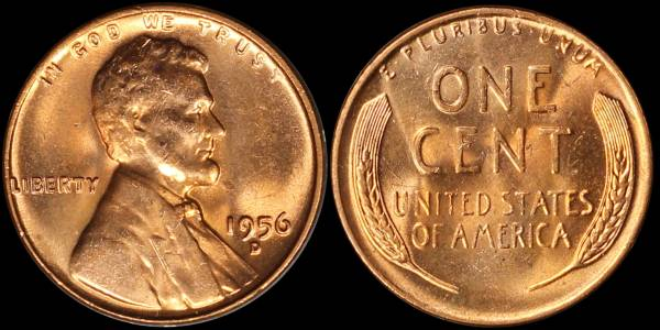 1956 D Lincoln Cent Uncirculated RED Coin 4