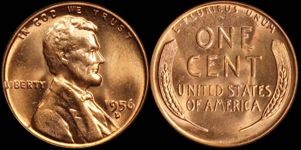 1956 D Lincoln Cent Uncirculated RED Coin 5