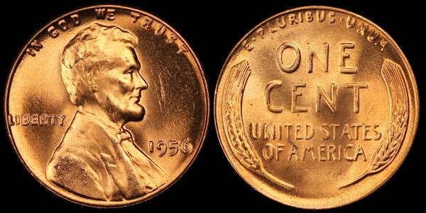 1956 P Lincoln Cent BU RED Uncirculated 2