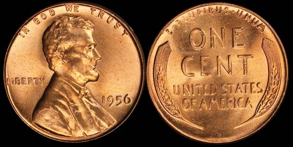 1956 P Lincoln Cent BU RED Uncirculated 3